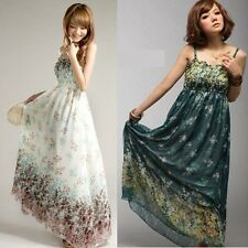 Sexy Womens Summer Casual Maxi Floral Long Chiffon Beach Sundress Dress 3 Colors