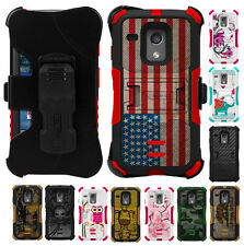 RUGGED TRI-SHIELD DESIGN CASE COVER BELT CLIP HOLSTER STAND FOR MOTOROLA MOTO-G
