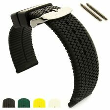 Mens Silicone Rubber Watch Strap Band Summer Tread Waterproof Resin SS Buckle