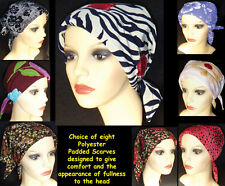 PADDED HEAD SCARVES. Headwear for cancer, chemo, hairloss, alopecia