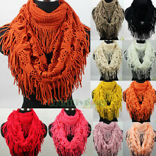 Hollow-Out Tassel Infinity Loop Eternity Warm Knit Scarf Shawl Various Colors