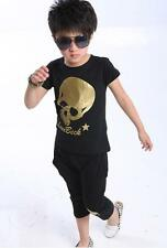 2PCS Kids Boys Cotton Skull Heads Sportswear T-shirt+ shorts Sets 3 colors 2-7Y