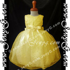 #SP11 Flower Girls/Wedding/Formal/Holiday/Party/Ball Gown Dress Yellow 0-5 Years