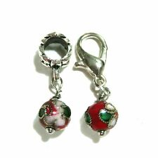 EUROPEAN OR LOBSTER CLASP CLIP ON STYLE RED CLOISONNE ENAMEL BEAD DANGLE CHARMS