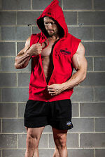 MENS GYM BODYBUILDING SLEEVELESS MUSCLE HOODIE SINGLET TOP VEST IRON TANKS #016