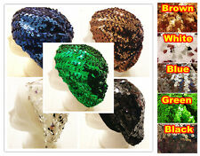 3 for 18 Womens Stretch Shimmer Sparkle Shiny Sequin Beret Skull Beanie Hat Cap