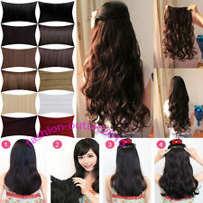 100% Synthetic Straight Wavy Clip In On Hair Extensions 1pc 5Clips Amazing AAA63