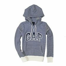 Gap Hoodie Womens Long Sleeve Fleece Navy Arch Logo Striped Hooded Sweatshirt