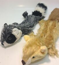 Dog Toy Large Flat No Stuffing Fox Or Badger With Honk In Tail And Crinkle Belly