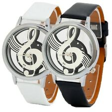 Music Notation Quartz Watches Women's Men's Note Leatheroid Wristwatch 2 Colors