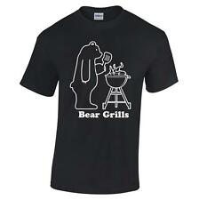 Bear Grills T Shirt Grylls Funny TV Slogan Barbecue BBQ Joke Born Survivor Scout