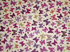 FLUTTERBY GRAPE 100% Cotton Lifestyle Fabric Funky Butterfly Summer Print Cheap