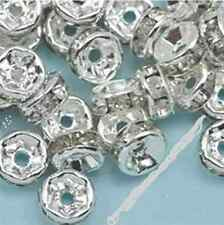 Wholesale 100pc Silver Plated Rondelle Clear Crystal Rhinestone Spacer Bead