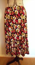 Kim & Co Petite Floral Print Skirt Purple Black Multi Large XXXL BNWT