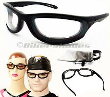 Foam Padded Motorcycle Night Glasses Goggles CLEAR Lens Polycarbonate Safety