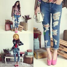 WOMEN FASHION FRAYED DESTROYED RIPPED CROPPED WASHED DENIM JEANS PANTS