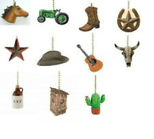 WESTERN THEME CEILING FAN PULL - COWBOY BOOT, HAT, TRACTOR, HORSE, GUITAR, STEER