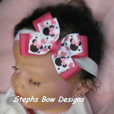 HOT PINK SHOCK PINK MINNIE & MICKEY MOUSE HEART DAINTY LAYERED HAIR BOW HEADBAND