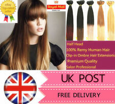 "18"" Premium Clip-in Dip Dye Ombre Remy Human Hair Extensions Straight Half Head"
