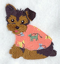 Yorkie Yorkshire Terrier Dog in Pajamas Machine Embroidered Quilt Block