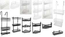 BLACK WHITE OR SILVER SATINA HANGING RECTANGLE CORNER SHOWER CADDY BATHROOM TIDY