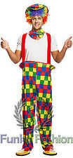 CLOWN & CIRCUS ADULTS RAINBOW COSTUME WOMENS MENS COMPLETE OUTFIT FANCY DRESS