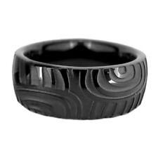 8mm Black Dome Finger Print Pipe Cut Titanium Men's Wedding Band Ring