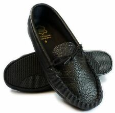 Mens Black Leather moccasins Slippers English Handmade UK 8-12