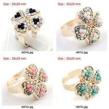 r657m73 Four Leaf Clover Rhinestone Crystal CZ rose Gold Plated Adjustable Ring