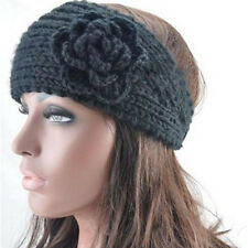 Women Crochet Headband Knit Hairband Flower Winter Ear Warmer Headwrap 4 Colors