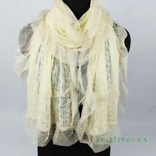 Fashion Hollow Out Floral Lace Mesh Crochet Oblong Scarf Shawl Mantilla Wrap New
