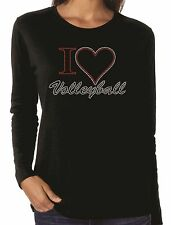 I Heart Volleyball Love Rhinestone Women's LS Long Sleeve T-Shirts Sports
