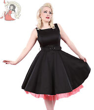 HEARTS & ROSES H&R London 50's BLACK & RED NET BELTED DRESS