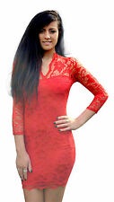 JOHN ZACK RED SWEETHEART SCALLOP STRETCH LACE BODYCON DRESS NEW 6 - 18