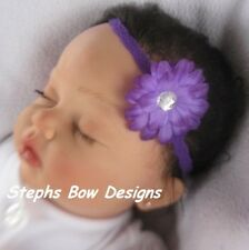 PURPLE GERBER DAISY FLOWER w/BLING DAINTY HAIR BOW LACE HEADBAND SUPER CUTE