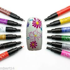 New Nail Art Pen Painting Design Tool 12 colours to Choose Drawing Gel Easy Made