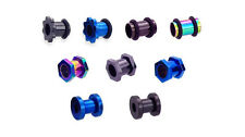 Ear Tunnel Plug Anodised Steel Hexagon Screw Fit Nut Flesh Stretcher