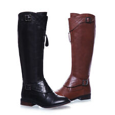 Womens Genuine Leather Buckle Front Zip Punk Flat Knee High Riding Boots Plus SZ