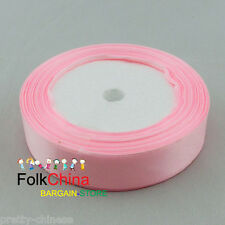 25 Yards Pink Single Sided Satin Ribbons 6mm,10mm,12mm,15mm,24mm,38mm,50mm