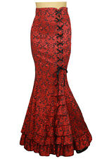 Mermaid JACQUARD FISHTAIL Long Gothic RED Corset Skirt Victorian Vintage wicca