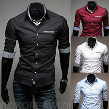 Men's 4 Colors Fashion Slim Fit Design Half Sleeve Casual Dress Shirt Top