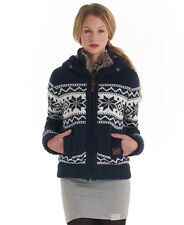 New Womens Superdry Premium Knit Jacket Lodge Blue