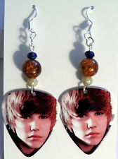 NEW! Handmade in USA Guitar Pick Earrings with Beads - JUSTIN BIEBER