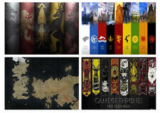 Game Of Thrones Houses Westeros Free City Maps Crest Shields Essos A3/A4 POSTER