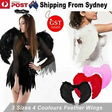 Feather Wings  Black White Angel Fairy Adults Kids Fancy Dress Costume Halloween
