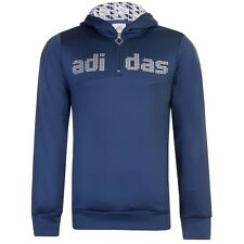 New Men's adidas MV Overhead Hooded Polyester Sweat Track Top Hoodie Navy Blue