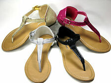 New Beautiful Womens Glittery  Gladiator T-Strap Sandals 4 Colors Sz 5-10