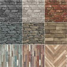 FINE DECOR LUXURY 10M EFFECTS WALLPAPER – STONE BRICK WOOD SLATE NEW