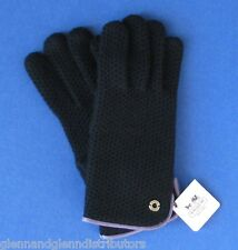 NWT Coach Leather Trimmed 100% Cashmere Honeycomb Gloves