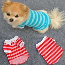 Vogue Wide Stripes Pet Dog POLO T-shirts Poppy Clothes 100% Cotton Doggy Shirts